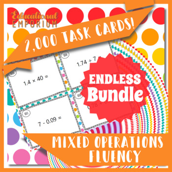 Mixed Operations Task Cards ENDLESS Bundle: Add, Subtract, Multiply, Divide
