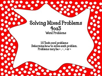 Mixed Operations Word Problem Task Cards