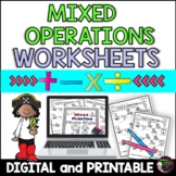 Mixed Operations  Worksheets: Pirate Theme!