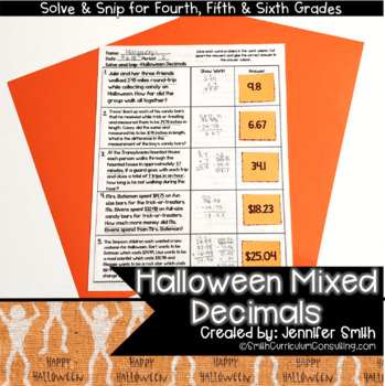 Mixed Operations with Decimals Halloween Solve and Snip® Word Problems