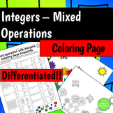 Mixed Operations with Integers (Add, Subtract, Multiply, Divide) Coloring Page
