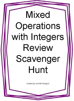 Mixed Operations with Integers Scavenger Hunt