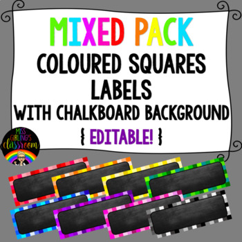 Mixed Pack Coloured Squares with Chalkboard Background Labels
