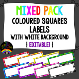 Mixed Pack Coloured Squares with White Background Labels