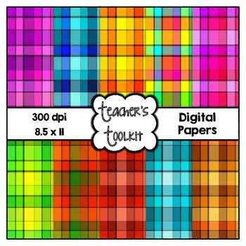 Mixed Plaid Digital Background Papers {8.5 x 11} CU OK
