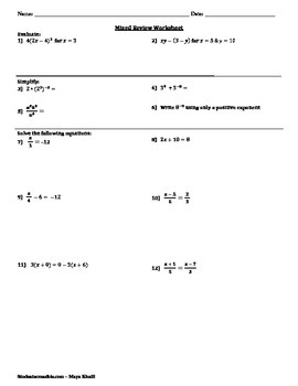 Mixed Practice Review Worksheet