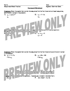 Mixed Practice Sequences Worksheet and Homework Worksheet Package