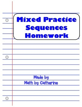 Mixed Practice Sequences Homework Worksheet
