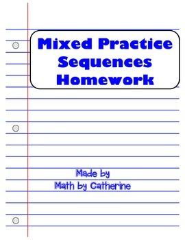Mixed Practice Sequences Homework Worksheet