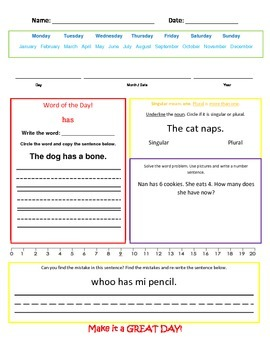 Mixed Practice- singular/plural nouns, mixed math story problems/equations