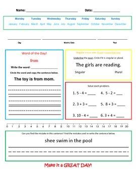 Mixed Practice- singular/plural nouns, mixed math story pr