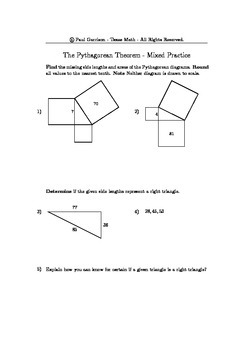 Mixed Practice with the Pythagorean Theorem