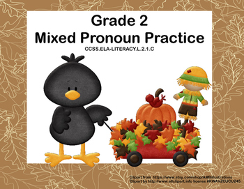 Mixed Pronoun Practice  32 Task  Cards for Grade 2 Common Core State Standards