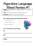 Mixed Review #1 for simile, metaphors, and personification worksheet