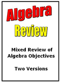 Mixed Review Algebra Objectives Two Versions