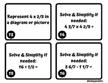 Mixed Review Fraction & Decimal Computation Task Cards