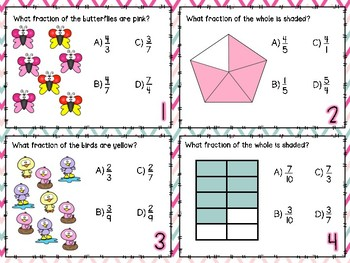 Mixed Review Fractions Task Cards