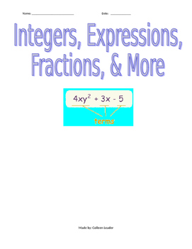 Mixed Review Integers, Expressions, Fractions, & More