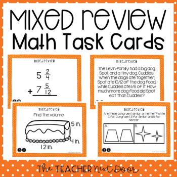 Mixed Review Task Cards for 5th Grade