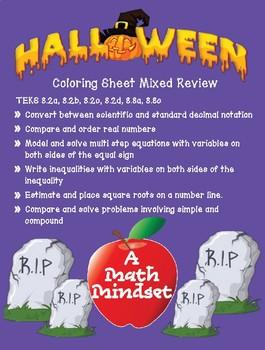 Mixed Review TEKS 8.2 Halloween coloring sheet