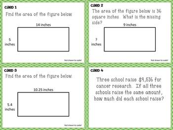 Mixed Review Task Cards - Math Test Prep for Fifth Grade