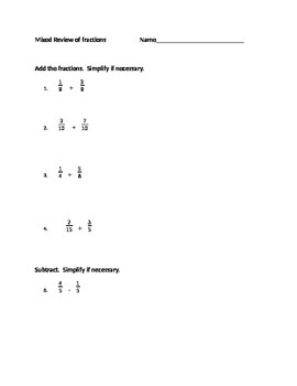 Mixed Review of Fractions (Add, Subtract, Multiply, Divide)