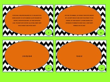 Mixed Review with Integers Task Cards