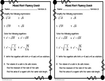 Cube & Square Root Mixed Fluency Check / Quiz:  No Prep Fluent in Math Series