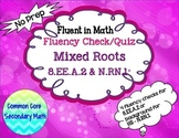Cube & Square Root Mixed Fluency Check / Quiz:  No Prep Fl