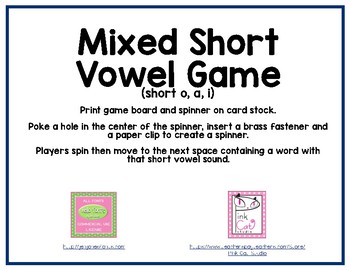 Mixed Short Vowel Game (a, i, o)