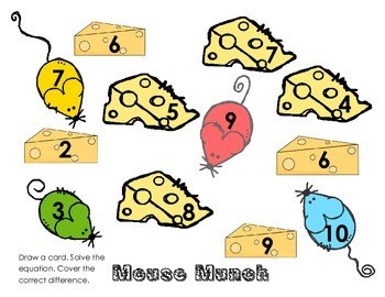 Mixed Subtraction Draw and Cover Mouse Munch 1.OA.6