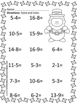 St. Patrick's Day Mixed Subtraction Facts Task Cards and Printables