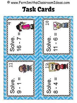 Mixed Subtraction We Love School Themed Task Cards and Printables