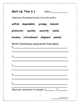 Mixed Syllable w/ Vowel & Consonant Suffix Supplemental Homework Practice 6.1