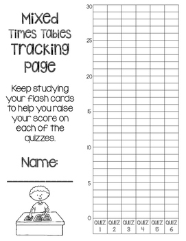Mixed Times Tables Multiplication Fluency- 6 Quizzes with Self-Monitoring Graph