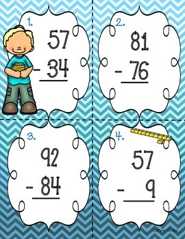 Mixed Two-Digit Subtraction Task Cards (with and without regrouping)