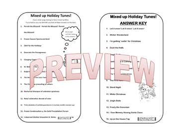 Mixed Up Carols!   Holiday Song Title Challenge