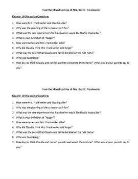 Mixed-Up Files of Mrs. Basil E. Frankweiler Questions Ch. 10