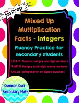 Integer Mixed Up Multiplication for Secondary Students: No Prep Fluent in Math