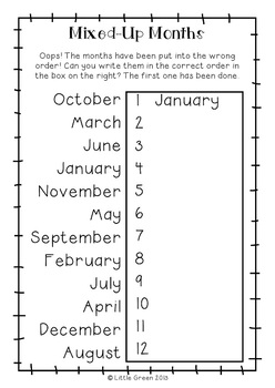 Free} Mixed Up Months Poster And Worksheets By Little Green Tpt Simple Months Of The Year Printables {free} Mixed Up Months Poster And Worksheets
