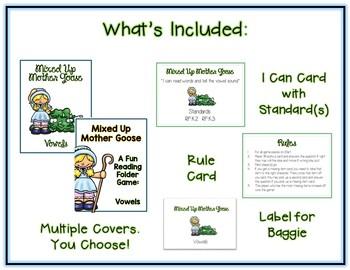 Mixed Up Mother Goose ELA File Folder Game - Vowels
