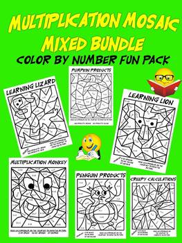 Mixed Up Multiplication Mosaics-Fun Multiplication Color By Number Pack
