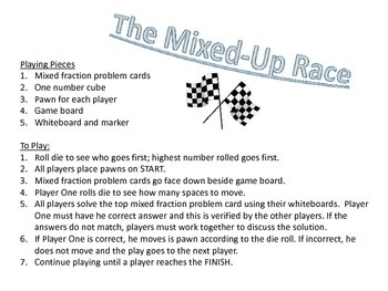 Mixed Up Race - Adding and Subtracting Mixed Numbers