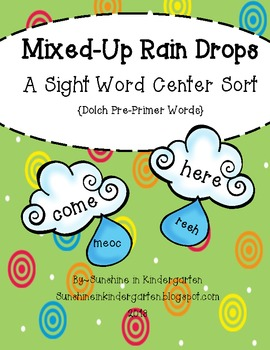 Mixed Up Rain Drops {Dolch Pre Primer Words}