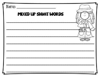 Mixed Up Scrambled Sight Words Treasures