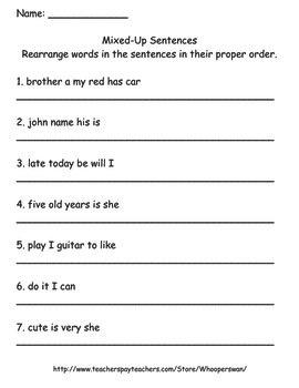 Mixed Up Sentences Worksheet | Teachers Pay Teachers