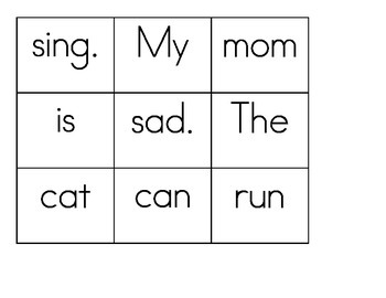 Mixed Up Sentences Literacy Center