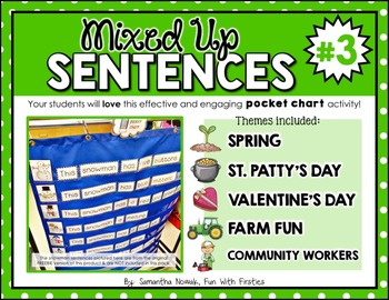 Mixed Up Sentences #3: a pocket chart literacy centre activity