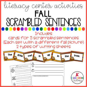 Mixed Up Sentences:  Autumn Edition