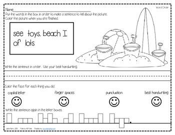Mixed Up Sentences - Beach Time Edition